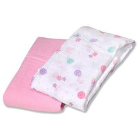 Bornfree/Summer Infant Swaddle Blanket - SwaddleMe - Muslin - LtlLdy - 2 ct