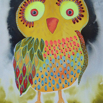 Owl Print - Baby Owl Painting - Yellow Owl - Owl Painting - ArtBeatriceM - Colorful Owl - Nursery Owl Art - Cute Owls - Baby Owls