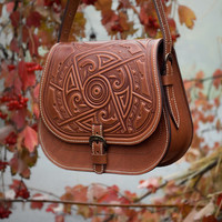 "Leather Handbag ""March Of Time"" 