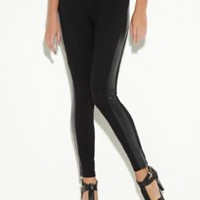 G by GUESS Women's Natalie Faux-Leather-Stripe Leggings