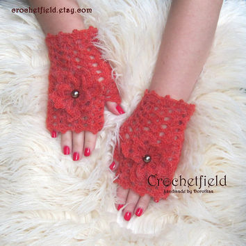 Russet Crochet Mittens with Flowers, Fingerless Gloves, Lace Hand warmers, Wrist Cuffs ,Gift for her, Women's Fashion Accessory