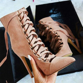 Pointed Toe Strappy Lace Up Pumps