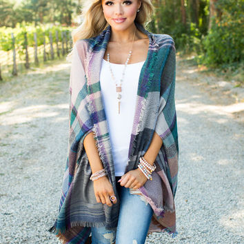 Overnight Sensation Plaid Poncho Style Cardigan Emerald