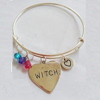 WITCH Stamped Metal Heart Charm Bangle