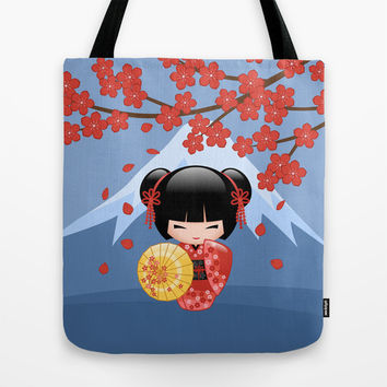 Japanese Red Sakura Kokeshi Doll Tote Bag by Natalia Linn