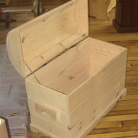 Unfinished Wooden Pine Hope Chest, Blanket Box