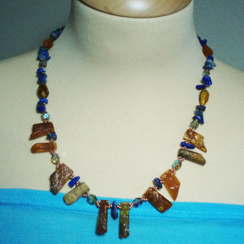 Original Vintage Amber, Lapis Lazuli Loose Chip Beads, Bohemia Glass Beads Necklace. Amber, Gemstone, Gold Japanese Beads Necklace.