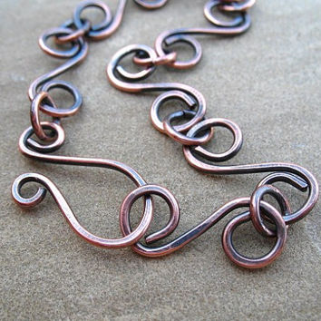 Copper Bracelet, Hammered Copper, Rustic Oxidized Finish