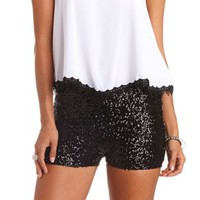High-Waisted Sequin Shorts by Charlotte Russe - Black