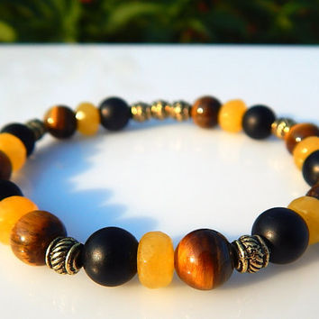 Men's Tiger Eye Bracelet, Men's Black Onyx Bracelet, Men's Gemstone Bracelet, Gift for Men, Men's Yellow Calcite Bracelet