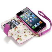 iPhone 5/5S Premium Faux Leather Wallet Case with Floral Interior (Hot Pink)