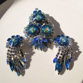 Juliana DeLizza & Elster Blue Heliotrope Margarita Stone Brooch and Earrings Vintage Antique