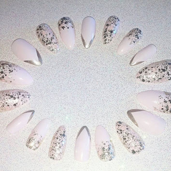 Pastel Pink and Gold glitter Stiletto Nails- Press on Nails- Glue on Nails- Acrylic Nails- Artificial Nails- False Nails- Fake Nail Set