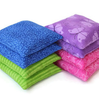 Bean Bags Green Blue Purple Pink Boys and Girls Birthday Party Toss Game (set of 8) - US Shipping Included