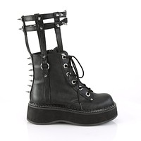 Emily 357 Goth Black Ankle / Mid Calf Cage Leg Brace Combat Boots 6-12