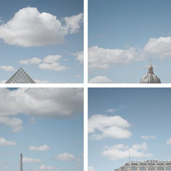 Paris Photography, Head in the Clouds Discounted Collection of Four Fine Art Prints, Blue Minimalist Whimsical Art for Home Gallery