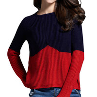 Women's Contrast Color Splice Knitted Pullover Sweater Jumper