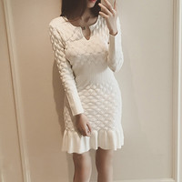 Winter Dress Women New Fashion Korea Slim Hem Ruffles Women Winter Dresses Casual Knitted Women's Dresses Winter S20311
