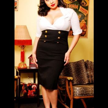 Military Secretary Dress in White and Black by Pinup Couture - Plus Size | Pinup Girl Clothing