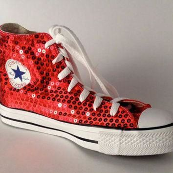 DCCKHD9 Ruby Red Sequin Converse All Star Hi Top by princesspumps on Etsy