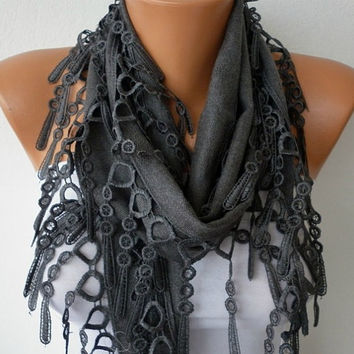 Gray Scarf  -  Pashmina Scarf  - Headband Necklace Cowl with Lace Edge/76576126