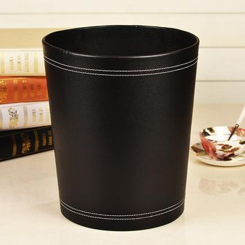High Grade 12Liters Round Leather Wood Waste BASKET Home Office