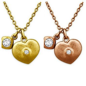 Solid 925 Sterling Silver + 14K Gold White Cubic Zirconia Heart Necklaces