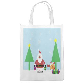 Santa and a Moose by Christmas Trees Grocery Bag