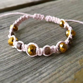 Beaded Hemp Bracelet, Coconut Bead, Gold Czech Glass Bead, Hippie Bracelet, All Natural Hemp Jewelry, Boho Bracelet