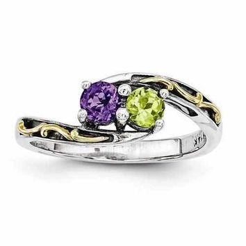 Mother's Sterling Silver Personalized Ring W/ 14k Two Birthstones