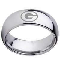 University of Georgia Bulldogs | UGA | Tungsten Ring Band | Silver | 8MM | Comfort Fit
