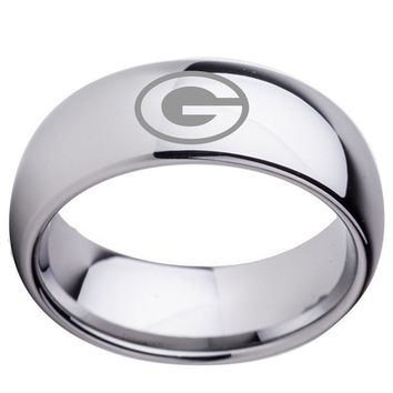 Packers Silver Tungsten Wedding Band or Casual Band Green Bay Ring 8mm Man or Woman