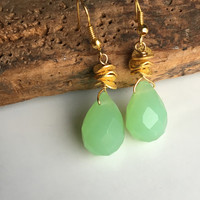 Green Earrings: Cloudy Green Quartz Briolette Earrings on Gold over Copper