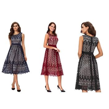 Tea Length Cocktail Lace Dresses, US Sizes 4 - 18