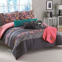 Roxy Samantha Full/Queen Comforter Sham Body Pillow Throw Bedding Set