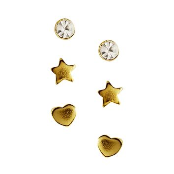 ASOS Gold Plated Silver Star Heart Crystal Tiny Earrings Multipack