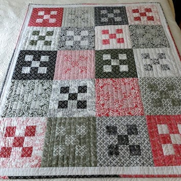 Lap quilt, sofa throw, patchwork red black olive and white quilt, toddler or baby modern quilt, 9 patch quilt