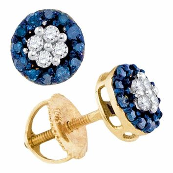 10k Gold Blue Round Cluster Diamond Women's Screwback Stud Earrings - FREE Shipping (US/CA)