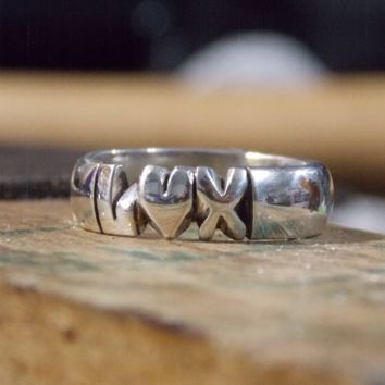 Hand Carved Half Moon Ring Band With initial Heart Initial Custom Made To Order In Silver