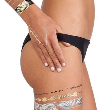 FLASH Tattoos Goldfish Kiss Tattoos in Metallic Gold