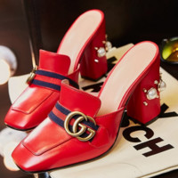 Gucci new pearl cool slippers with high heels