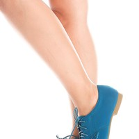 TEAL LACED SUEDE MATERIAL CASUAL LOAFER FLATS