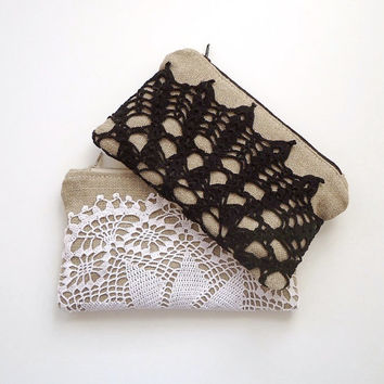 Set of 2 - Black and White Vintage Doily Burlap Clutch - Black and White Wedding - Black Lace Clutch - Vintage Wedding