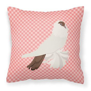 German Helmet Pigeon Pink Check Fabric Decorative Pillow BB7944PW1414