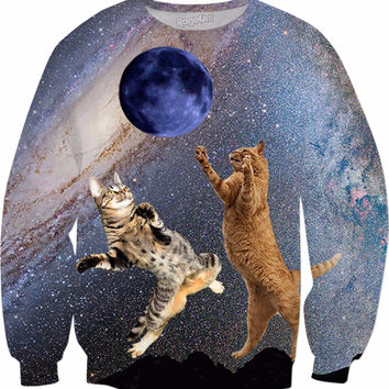 Cats Catching the Moon Sweatshirt