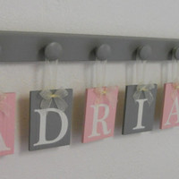 Baby Girl Nursery Wall Name Sign, Customized for ADRIANA with Pink and Grey 7 Peg Board. Personalized Gift, Kids Room Decor