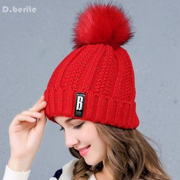 Fashion Winter Character  Hat Knitted Thickened Cotton Women's Hat Warm Pom Poms Hats For Women Girl Beanies Female Cap KYY8122