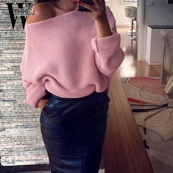 WYHHCJ 2017 sexy off shoulder autumn/winter sweater solid warm pullover women long sleeve casual knit sweater women pull femme