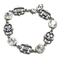 "Anne Koplik Designs Sterling Silver Plated Vintage Style Filigree 7.5"" Link Bracelet with Clear Swarovski Crystals - Like Love Buy"