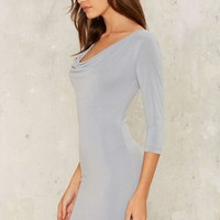 On the Cowl Mini Dress - Blue
